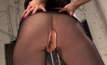 Mistress maiala dominatrice senza mutandine in calze a rete